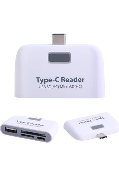 Case 4U USB Type-C Kart Okuyucu Ve USB Dönüştürücü Çevirici Beyaz