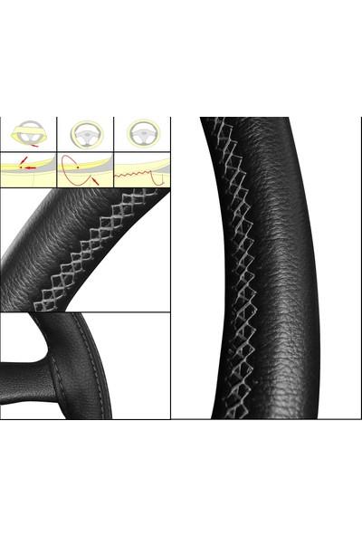 Oto Dikme Deri Direksiyon Kılıfı Siyah Kırmızı İp Direksiyon Çapı 37 ile 39 cm arası uyumlu