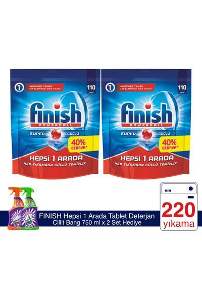 Finish Hepsi Bir Arada 220 Tablet Bulaşık Makinesi Deterjanı (110x 2) + Cillit Bang Banyo ve Mutfak 750 ml