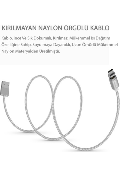 WSKEN Manyetik Data Şarj Kablo (ANDROID-MICRO USB)