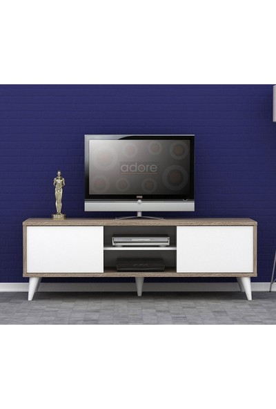 Adore Retro Wide Slide Tv Sehpası - Latte - Soft Beyaz