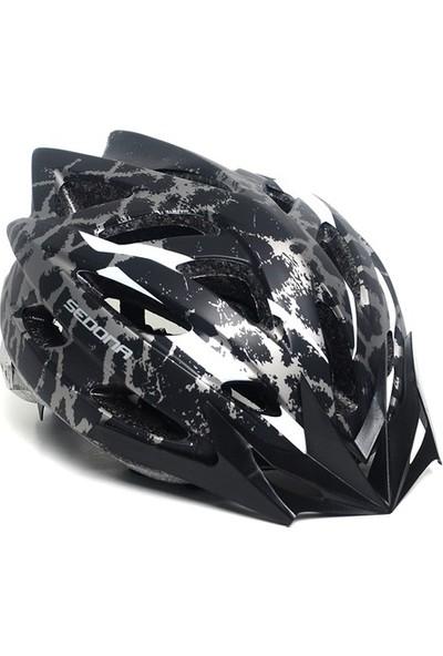 Sedona Mv 39 Kamuflaj Desenli Bisiklet Kaskı Siyah Beyaz
