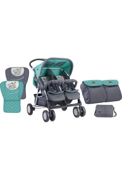 Lorelli Twin İkiz Bebek Arabası - Green&Grey Friends - Yeşil Gri