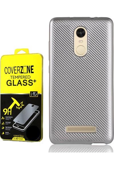 Coverzone Xiaomi Redmi Note 3 Kılıf Karbon Silikon + Cam Ekran Koruyucu + 3D Araç Kokusu