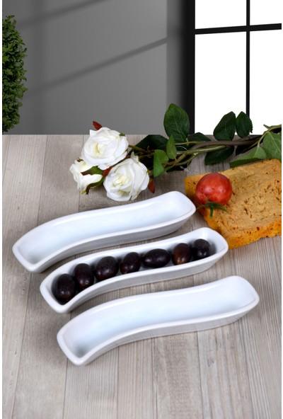 Keramika 3 Adet İvory Zeytinlik 18 Cm Beyaz