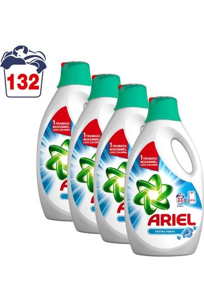 Ariel Sıvı Çamaşır Deterjanı Ekstra Ferah 33 Yıkama Beyazlar ve Renkliler İçin 4'lü Paket