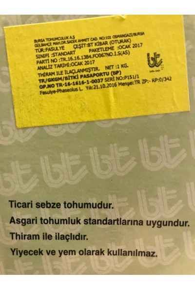 Bursa Tohum Bt Kibar / Oturak / Fasulye Tohumu / 1 Kg