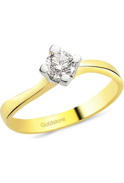 Goldstore 18 Ayar Altın 0.30 Ct Pırlanta Tek Taş Yüzük Drs33744 6
