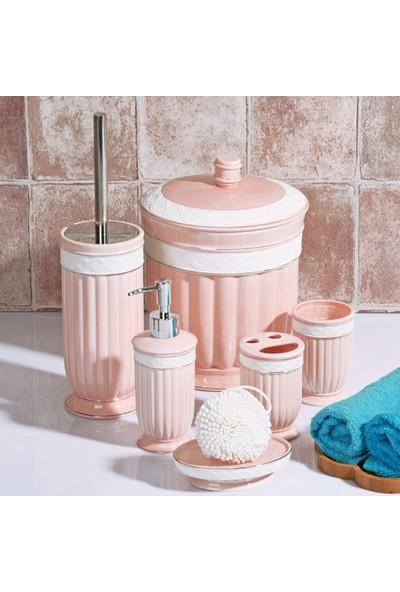 Stoneware 6 Parça Kovalı Banyo Seti Pembe