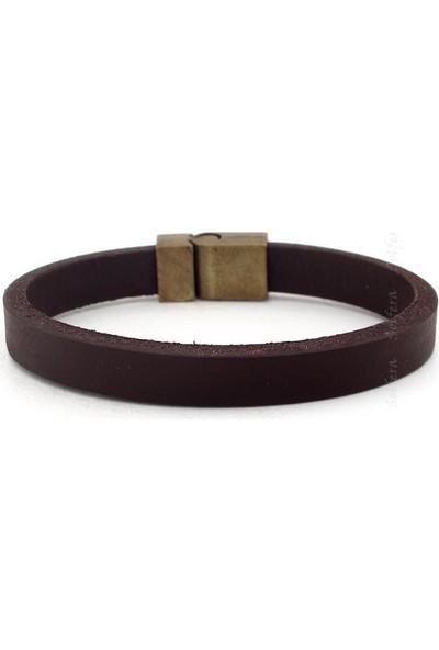 Solfera Hakiki Kalın Kahverengi Deri Erkek Bileklik Metal Mıknatıslı B1215