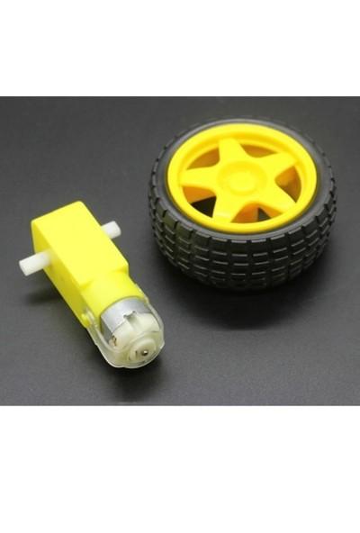 Arduino Robot Tekerlek ve DC Motor Seti - Araba Tekerlek Set