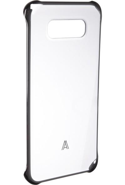 Anymode Samsung Galaxy A8 Arka Kapak Şeffaf Gümüş Çerçeve