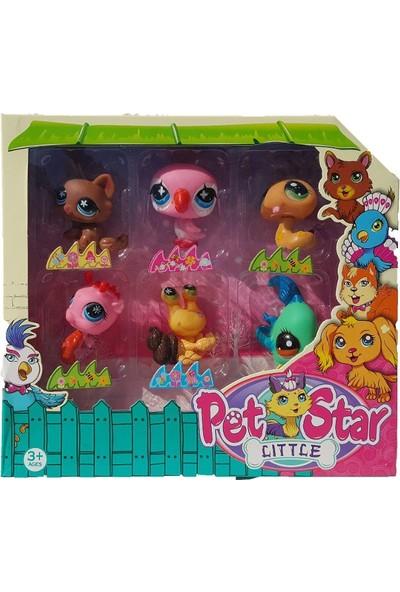 Littlest Pet Shop Neşeli Minişler 6'lı Miniş Ailesi Oyuncak Pet Star Little Minişler Pembe Kuşlu Model Set