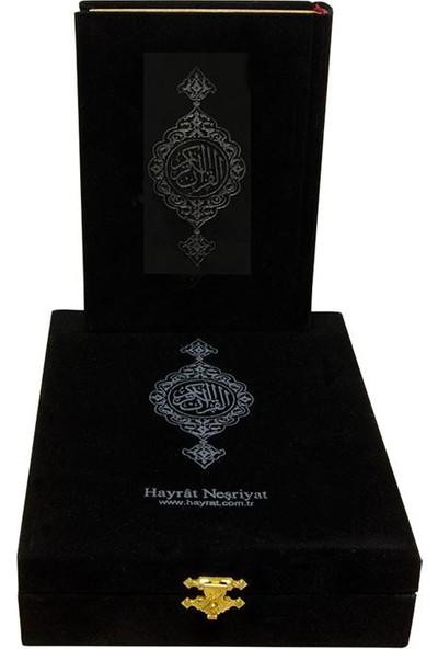 Hayrat Kadife Kutulu Çanta Boy Kuran-ı Kerim (Siyah)