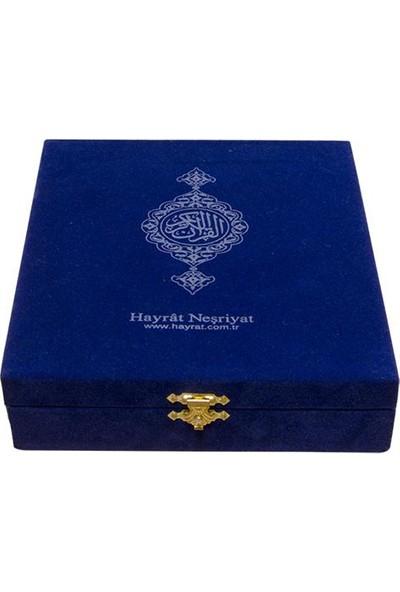 Hayrat Kadife Kutulu Çanta Boy Kuran-ı Kerim (Mavi)