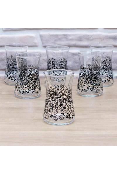 Joy Glass 6'lı Heybeli Siyah Şal Desen Bardak