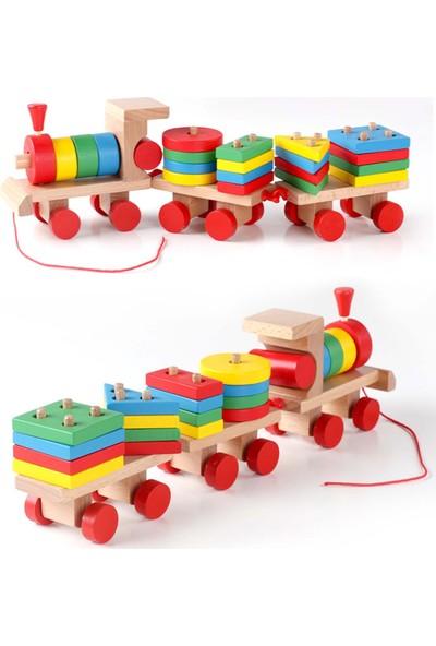 Wooden Toys Three Shape Small Trains / Bebek Ahşap Oyuncak Eğitici Geometrik Tren
