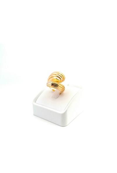 Adorno Özel Tasarım Çizgili Model Sarı Altın Yaldız Yüzük Yz06111