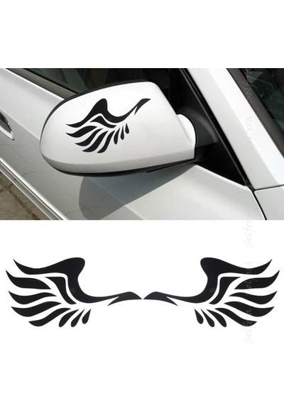 Solfera Siyah Melek Kanadı Otomobil Yan Ayna Sticker Etiket Cs033