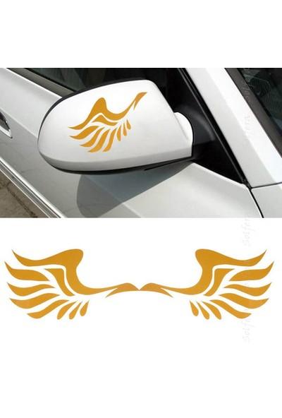 Solfera Sarı Melek Kanadı Otomobil Yan Aynalar İçin Etiket Cs034