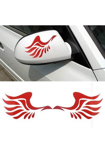 Solfera Kırmızı Melek Kanadı Otomobil Yan Ayna Etiket Çıkartma Cs035