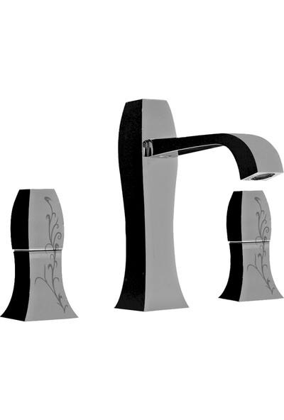 Porcelanosa-Noken Dune 3 Delikli Desenli Lavabo Bataryası