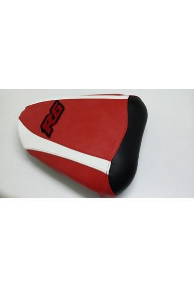 Dot Cycle Yamaha YZF R6 Siyah/Beyaz/Kırmızı 2008/2014 Modellere Uyumlu Gerçek Deri Koltuk Kılıfı Takımı