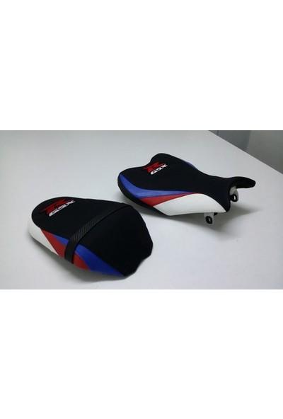 Dot Cycle Suzuki GSX-R 1000 Siyah/Beyaz/Kırmızı/Mavi 2009/2014 Modellere Uyumlu Gerçek Deri Koltuk Kılıfı Takımı