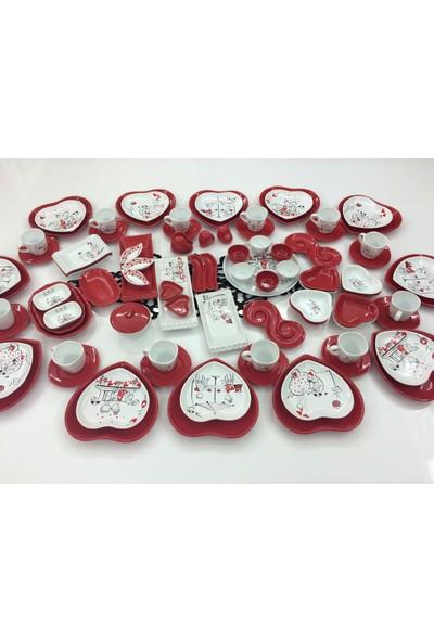 Keramika 98 Parça 12 Kişilik Seramik Kalp Kahvaltı Takımı