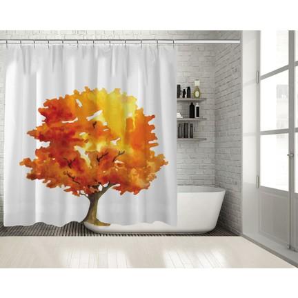 Positivehome Sarı Turuncu Sulu Boya Etkili Ağaç Sonbahar Duş Fiyatı