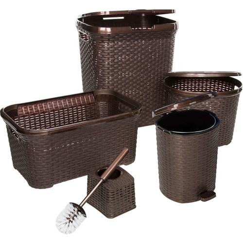 Modelüks Çok Amaçlı Hasır Banyo Seti - Kahve