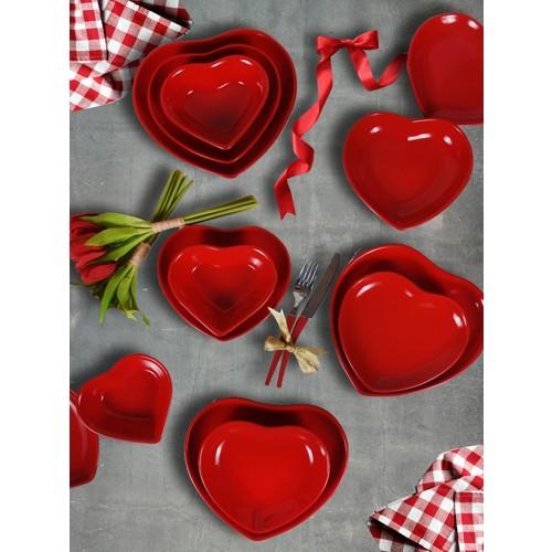 Keramika 6 Kişilik 24 Parça Kalp Kırmızı Yemek Takımı