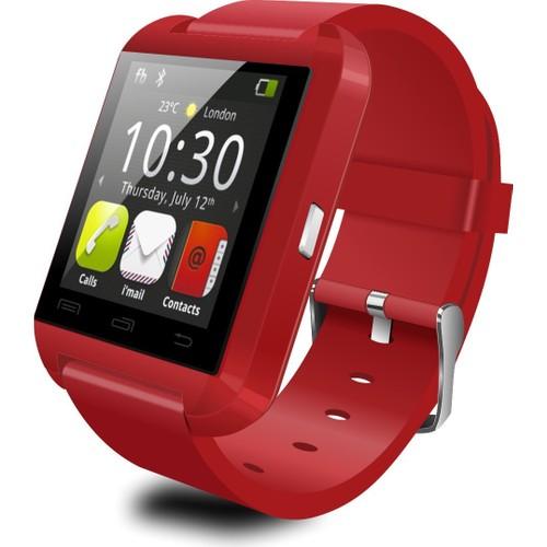 Case 4U U8 Kırmızı iOS ve Android Uyumlu Akıllı Saat
