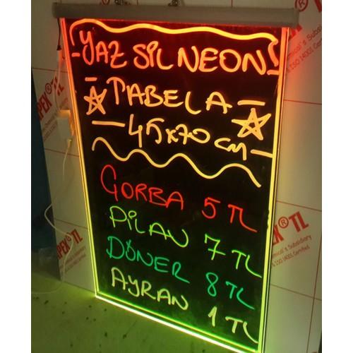 Projeneon Yaz Sil Neon Tabela 30 x 40 Cm 4 Kalemli