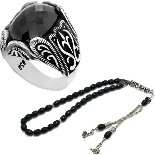 Chavin Osmanlı Siyah Taşlı Gümüş Erkek Yüzük ve Tesbih set01