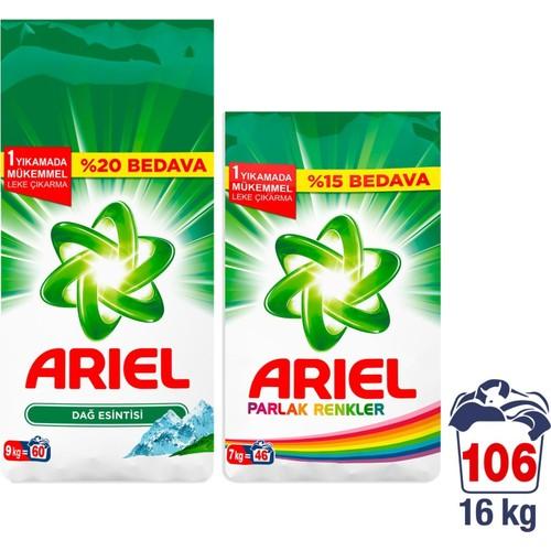 Ariel Toz Çamaşır Deterjanı Dağ Esintisi 9 kg + Parlak Renkler 7 kg