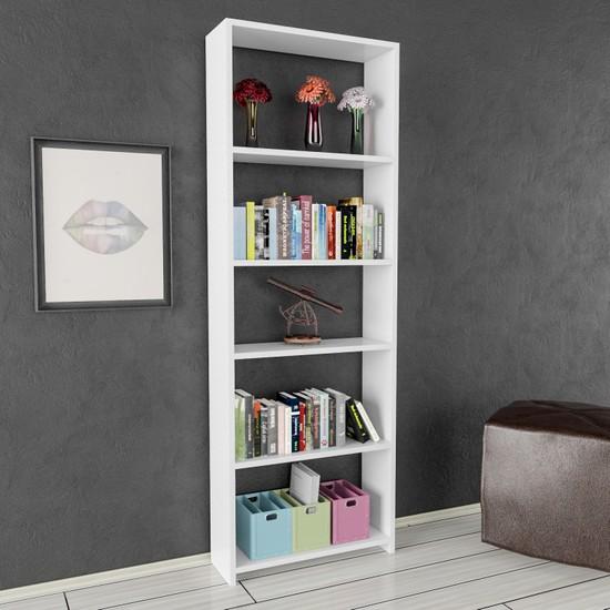 Nur Mobilya Melissa 5 Raflı Kitaplık Arkalıksız Model