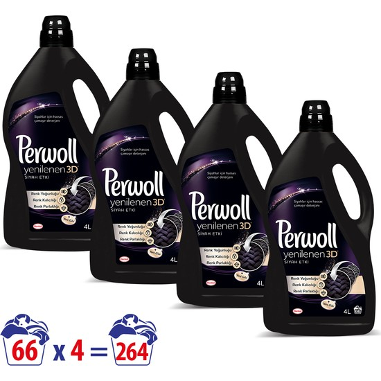 Perwoll Yenilenen Siyahlar Hassas Çamaşır Deterjanı 4 lt 4'lü Set