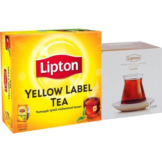 Lipton Yellow Label Bardak Poşet Çay 100'lü + Defne Koz Bardak