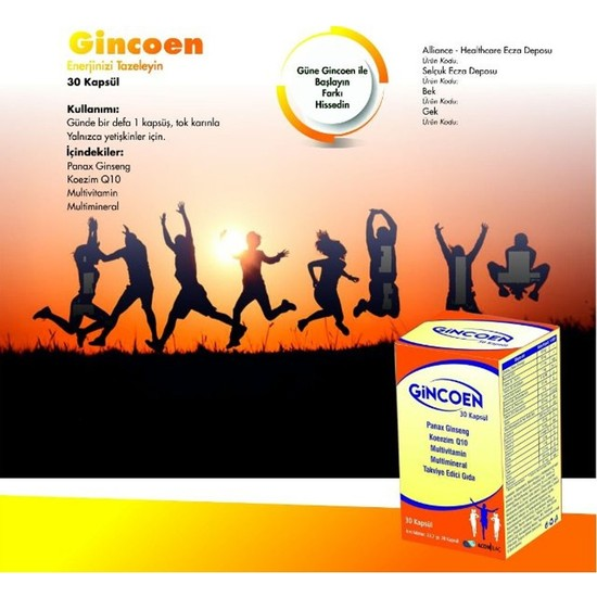 Gincoen 30 Kapsül Multivitamin Koenzim Q10 Panax Ginseng