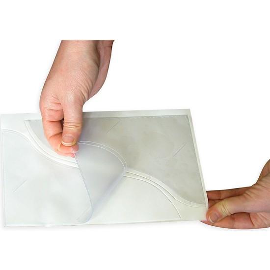 Aso Arkası Yapışkanlı Plastik Dosya Cebi Plastik 14 x 21 Cm Dalgalı Kesim 100 adet