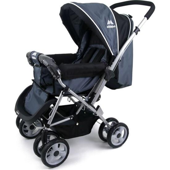 Aldeba 8028B Çift Yönlü Lüks Bebek Arabası Siyah
