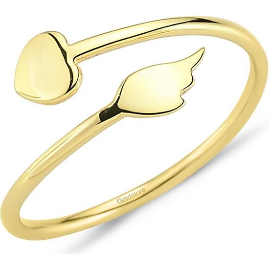 Goldstore 14 Ayar Altın Kanatlı Kalbim Yüzük Grf40221 18