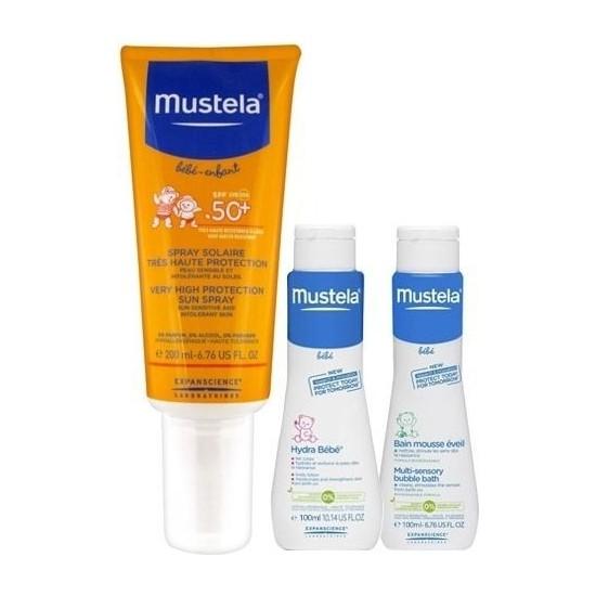 Mustela Protection Sprey SPF 50+ 200 ml Çok Yüksek Faktörlü Güneş Kremi + Şampuan ve Losyon