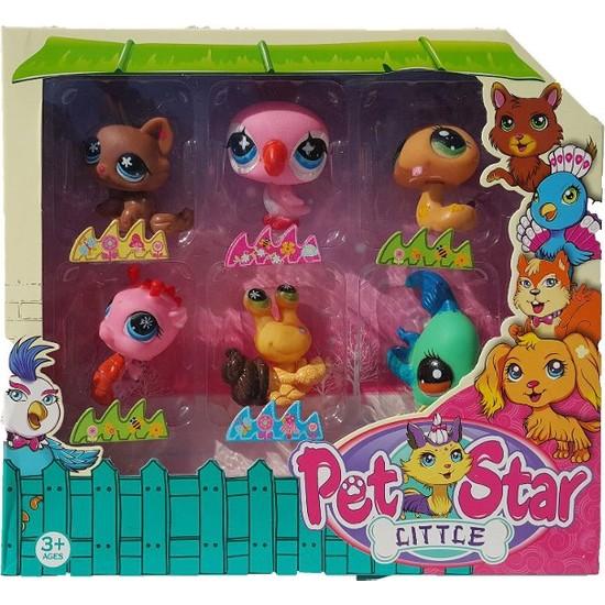 Pet Star Neşeli Minişler 6'lı Miniş Ailesi Oyuncak Pet Star Little Minişler Pembe Kuşlu Model Set
