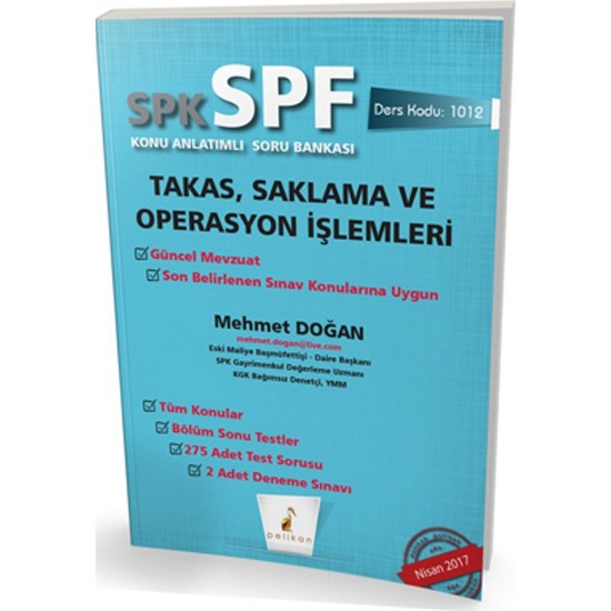 SPK - SPF Takas, Saklama ve Operasyon İşlemleri Konu Anlatımlı Soru Bankası 1012
