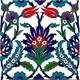 Armada Çini 20X20 Cm Ac 19 Kütahya Cami Çinisi Osmanlı Çiçek Desenli Seramik Çini Karo