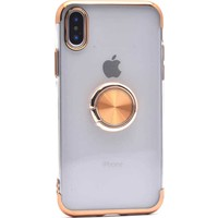Makt Apple iPhone X Glitter Gess Silikon Ring Kılıf Gold