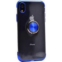 Makt Apple iPhone XR Glitter Gess Silikon Ring Kılıf Mavi