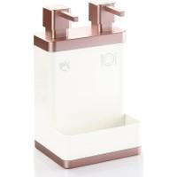 Azra Akrilik 2'li Mutfak Sıvı Sabunluk Beyaz Rose Gold